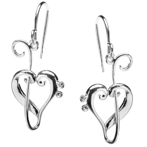 Heart of clefs silver drop earrings
